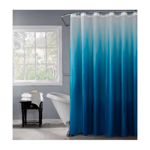 SAKU ผ้าม่านห้องน้ำ ขนาด 180-180 cm HEVA13096 ลายน้ำเงินตกตระกอน