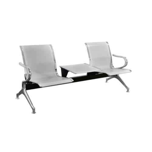 SMITH เก้าอี้แถว 2 ที่นั่ง  พร้อมที่วางของ  SJ8888CB-SL  สีเงิน