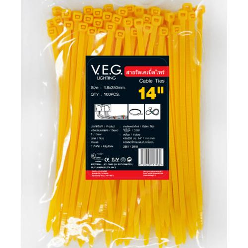 V.E.G. เคเบิ้ลไทร์4.8x350  14นิ้ว  สีเหลือง