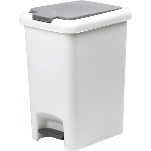 ICLEAN ถังขยะเหยียบเหลี่ยม Prensa 15 ลิตร ขนาด 31x22x38.5 ซม. TG51789 สีขาว-เทา