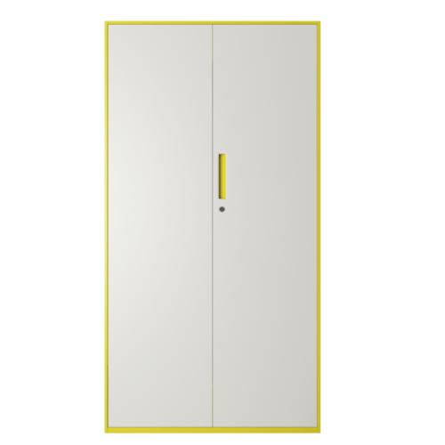 ULA ตู้เก็บเอกสารแบบทึบบานเปิด 90x40x185 ซม. BDL14 ขาว-เหลือง