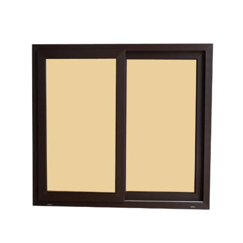Wellingtan หน้าต่างไวนิล บานเลื่อน SS ขนาด 120cm.x110cm.  พร้อมมุ้ง (2-T) BW1001 สีขาวน้ำตาล