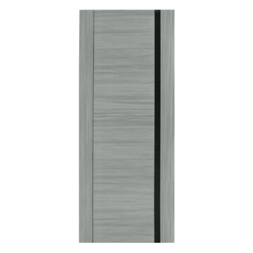 HOLZTUR ประตูเมลามีน เซาะร่อง ขนาด 80x200ซม. MD-MD27 สีเทา-ดำ