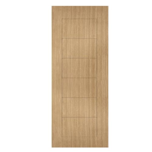 HOLZTUR ประตูปิดผิวพีวีซี บานทึบทำร่อง ขนาด 80x200ซม.   PVC-P30-1 BROWN OAK