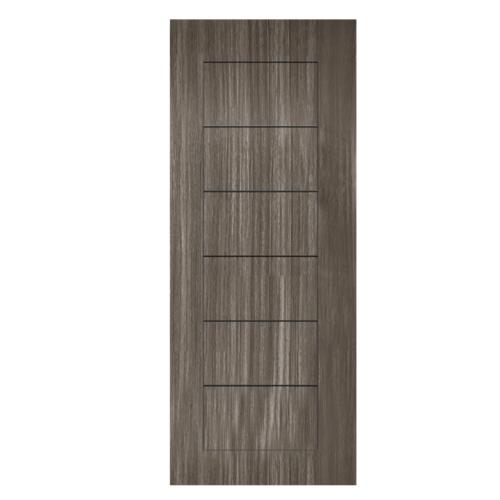 HOLZTUR ประตูปิดผิวพีวีซี บานทึบทำร่อง ขนาด 80x200ซม. PVC-P30-2  GRAY PINE