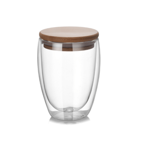 AILO แก้วใสสองชั้น พร้อมฝาไม้ปิด 350 ml.   XXL002