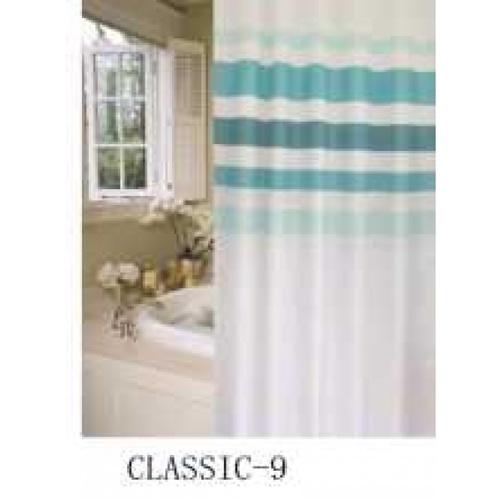 Primo  ม่านห้องน้ำโพลีเอสเตอร์ รุ่น DDDF05  ลายทางสีฟ้า สีขาว