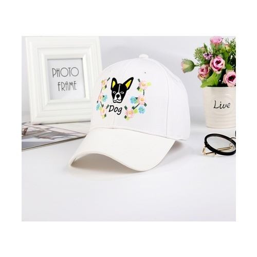 USUPSO หมวกแก๊ปเบสบอลลายปักสุนัข - สีขาว