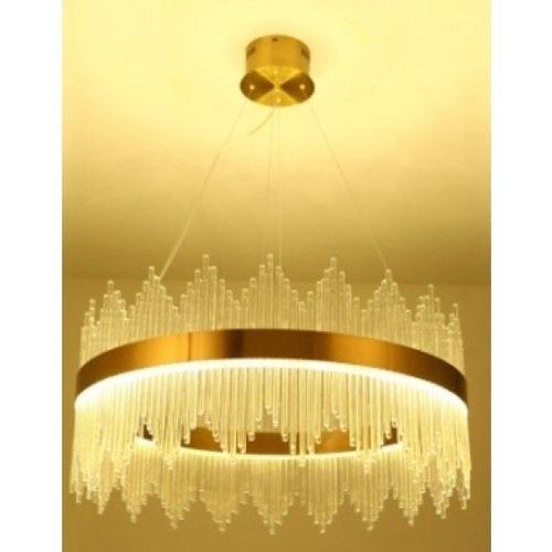 EILON โคมไฟคริสตัล LED แขวนเพดานหรูหรา ทรงวงกลม ขนาด 80*80*35cm 6408R-D8 สีขาว