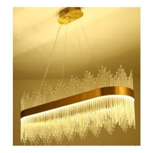 EILON โคมไฟคริสตัล LED แขวนเพดานหรูหรา ทรงวงรี ขนาด 100*35*35cm   6408O-L10 สีขาว