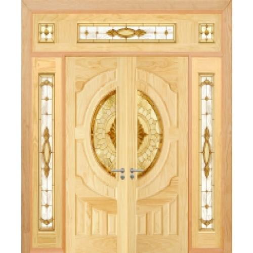 D2D ประตูไม้สนนิวซีแลนด์ ลูกฟักพร้อมกระจก SET 5ขนาด 80x200cm.   D2D-417