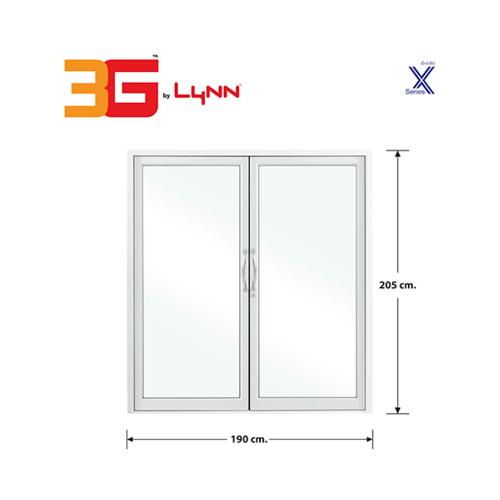 3G ประตูบานสวิงคู่  ขนาด 1.90x2.05 เมตร สีขาว