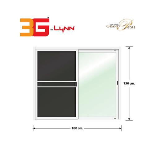 3G หน้าต่างอลูมิเนียมบานเลื่อน SS (GP) 180x150cm. พร้อมมุ้ง Grand Pano Series