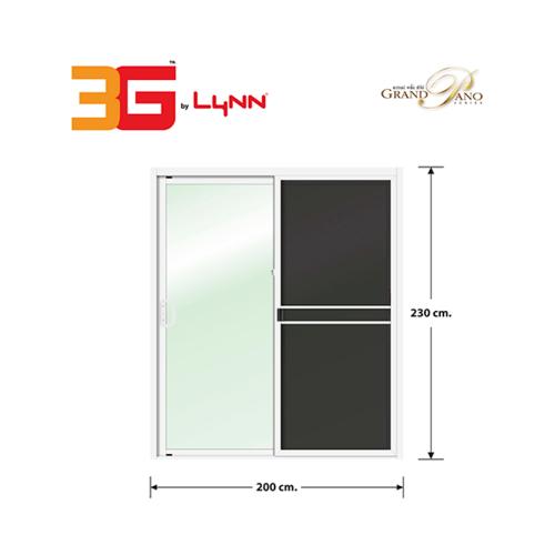 3G ประตูบานเลื่อนสลับ SS (GP)  ขนาด 200cm.x230cm.พร้อมมุ้ง สีขาว