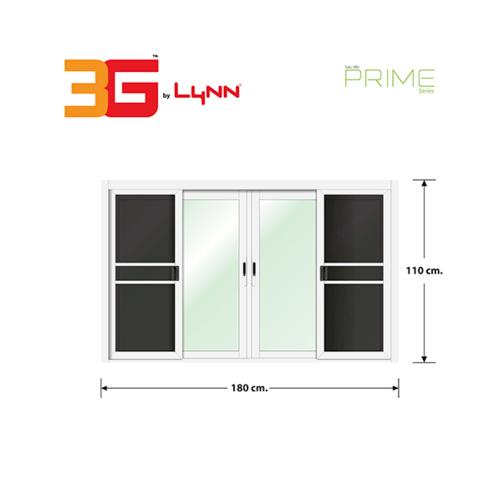 3G หน้าต่างอลูมิเนียมบานเลื่อน ขนาด 180x110cm. พร้อมมุ้ง FSSF (PS) สีขาว