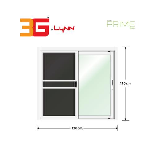 3G หน้าต่างอลูมิเนียมบานเลื่อน ขนาด 120x110cm. พร้อมมุ้ง SS (PS)  สีขาว