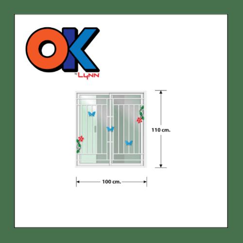 3G หน้าต่างอะลูมิเนียม บานเลื่อน SS 100x110ซม. ติดเหล็กดัดพร้อมมุ้ง OK ขาว