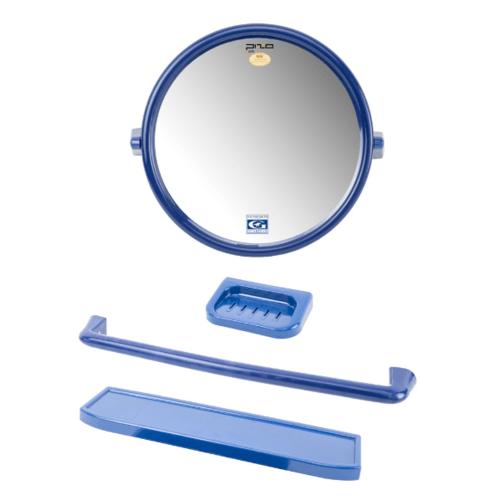 PIXO กระจกชุด4ชิ้น แบบกลม MS05 สีน้ำเงิน