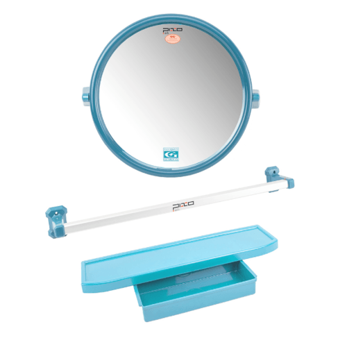 PIXO กระจกชุด3ชิ้น แบบกลม MS08ฟ้า