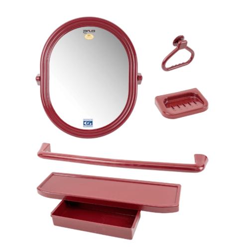 PIXO กระจกชุด5ชิ้น แบบวงรี MS011แดง