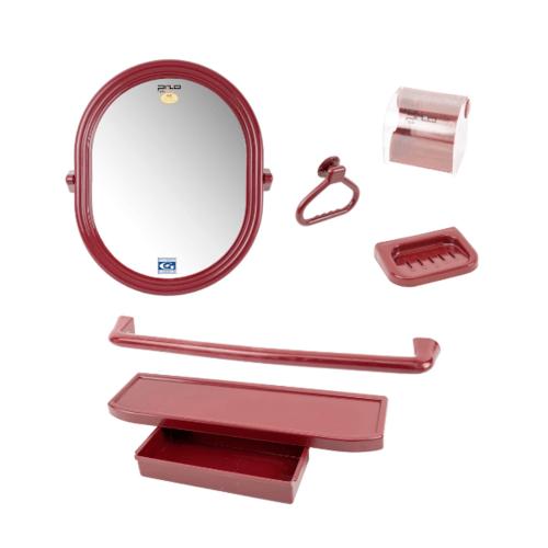 PIXO กระจกชุด6ชิ้น แบบกลม MS012แดง