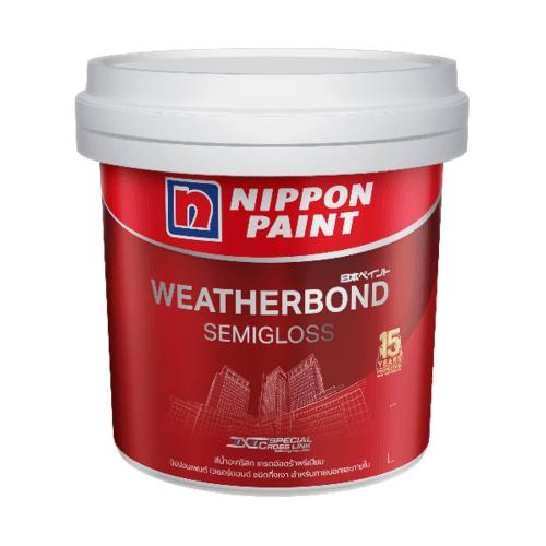 Nippon  สีน้ำอะคริลิกภายนอก เวเธอร์บอนด์ กึ่งเงา เบส D 9 ลิตร WEATHERBOND SemiGloss  สีขาว