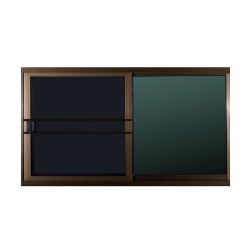 A-Plus  หน้าต่างอลูมิเนียมบานเลื่อน  162x88ซม. สีชา พร้อมมุ้ง SS (LIKE)