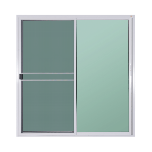 A PLUS ประตูอะลูมิเนียมบานเลื่อน FSSF  ขนาด  400cm.x 205cm.  พร้อมมุ้ง  สีขาว