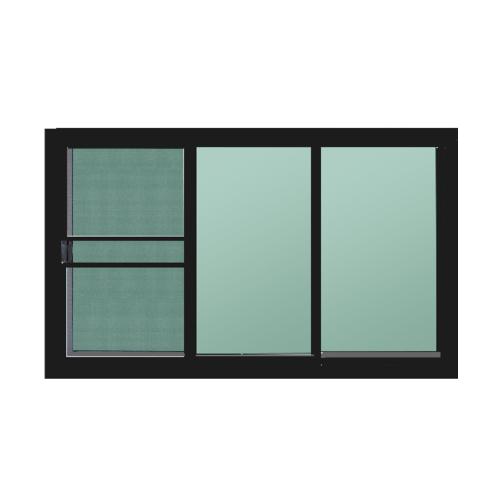 A-Plus หน้าต่างอะลูมิเนียมบานเลื่อนสลับ ขนาด 180x150ซม. (3บาน)  SAHARA สีเทา