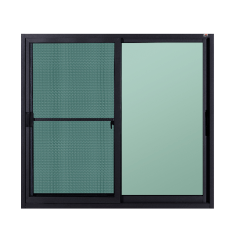 A-Plus  หน้าต่างอะลูมิเนียมบานเลื่อน ขนาด 120x150ซม. สีดำด้าน พร้อมมุ้ง SS