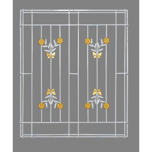 A-Plus  เหล็กดัดหน้าต่าง ลายดอกไม้จีน  ขนาด 138x99ซม.  (ติดครอบ) สีขาว