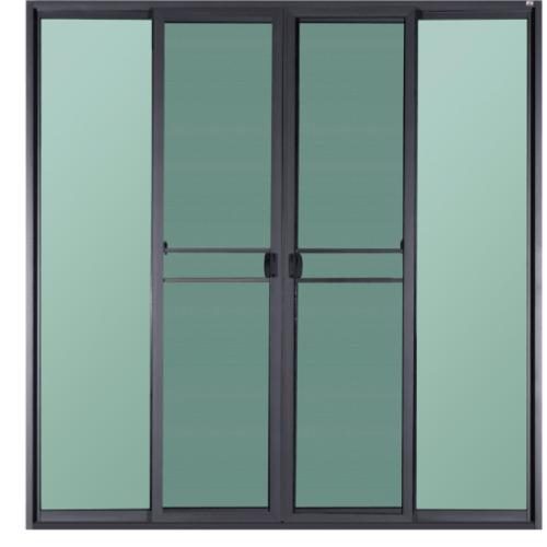 A-Plus  ประตูอะลูมิเนียมบานเลื่อน FSSF ขนาด 240x225ซม. สีซาฮาร่า พร้อมมุ้ง SAHARA เทาเข้ม