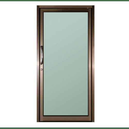 A-Plus ประตูอะลูมิเนียม บานสวิงเดี่ยว Like-012 ขนาด 100x204ซม. สีชา กระจกเขียวใส (พร้อมมุ้ง)