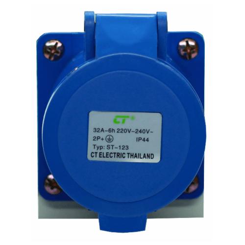 CT ELECTRIC พาวเวอร์ปลั๊ก  ติดลอย(เบ้าปลั๊ก) 2P-E(123)32A 220V ขาว-น้ำเงิน