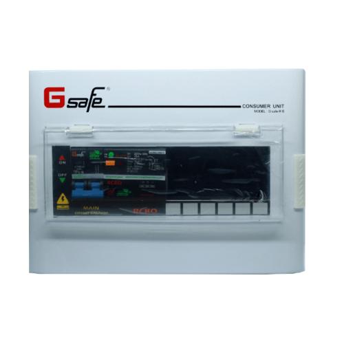 Gsafe ตู้คอนซูเมอร์-เมนเบรกเกอร์กันดูด G safe-R6/6ช่อง 50A กันดูด G safe-R6/6ช่อง RCBO 50A สีขาว