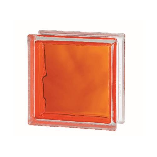 ช้างแก้ว บล็อกแก้วสี แก้วเมฆา เทคนิคกลิ้ง  I-018/302 สีส้ม