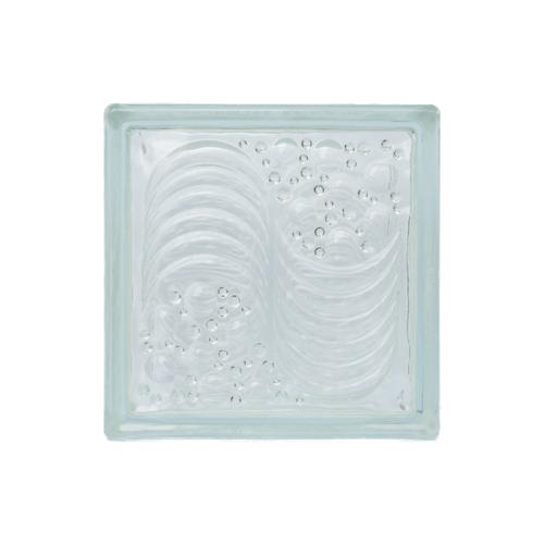 ช้างแก้ว บล็อกแก้วใส แก้วคลื่นทะเล(190x190x90mm.)  N-013/09 A.