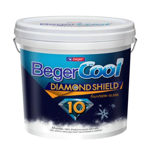Beger สีน้ำอะครีลิคเบเยอร์คูล ไดมอนด์ชิลด์ 10 ปี ชนิดกึ่งเงา เบส D ถัง สีขาว