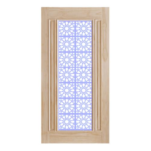D2D ประตูไม้สนนิวซีแลนด์ บานเรียบพร้อมกระจก ขนาด 120x240cm. 601