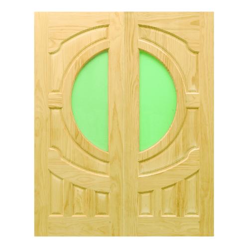 D2D  ประตูไม้สนNz ทำร่องพร้อมช่องกระจก (คู่) ขนาด100x200ซม. D2D-404