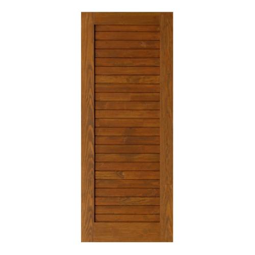 D2D  ประตูไม้ดักลาสเฟอร์ บานทึบลูกฟักทำร่อง  70x200ซม.  Eco Ezero-3  สีเชสนัท
