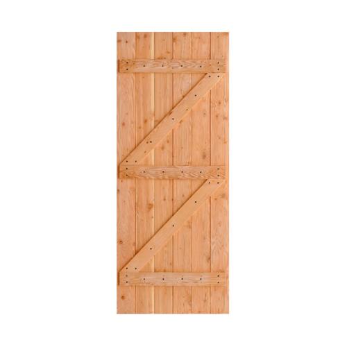 D2D ประตูไม้ดักลาสเฟอร์ บานทีบเซาะร่อง(โรงนา) ขนาด 120x200ซม. Eco Pine-99