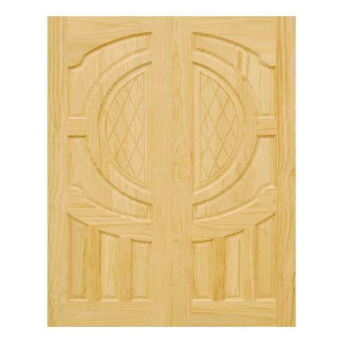 D2D ประตูไม้สนNz บานทึบลูกฟักแกะลาย (คู่) ขนาด 80x220ซม. D2D-304