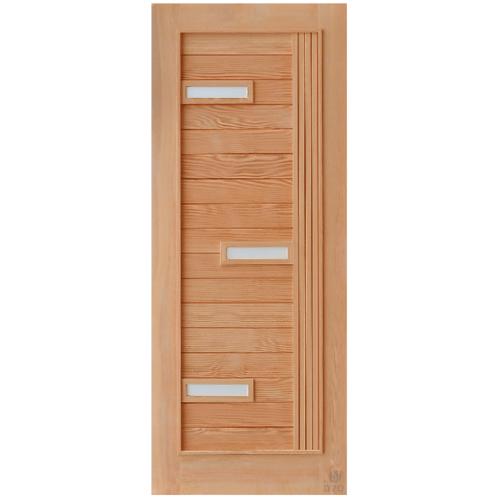 D2D ประตูไม้ดักลาสเฟอร์ ทำร่องพร้อมกระจก ขนาด 90x220ซม.   D2D-511 Plus