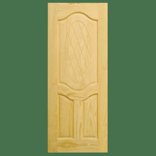D2D ประตูไม้สนนิวซีแลนด์ บานทึบลูกฟักแกะลาย ขนาด 100x200 ซม. D2D-302 ไม้ธรรมชาติ