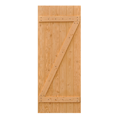 D2D ประตูไม้ดักลาสเฟอร์ บานทึบทำร่อง (โรงนา) ขนาด  70x190cm.  Eco Pine-55