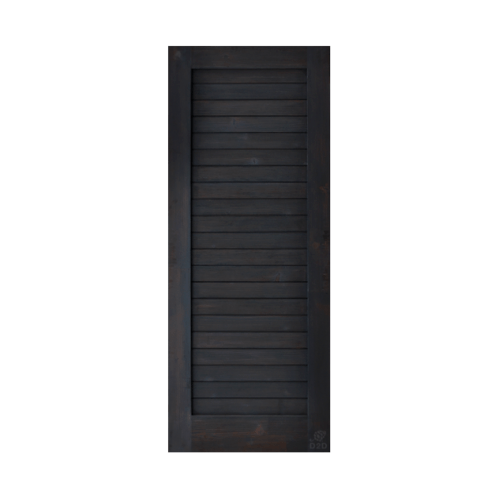 D2D ประตูไม้ดักลาสเฟอร์แบล็คแอช บานทึบทำร่อง ขนาด 80x200cm.  Eco Ezero-3 Back Ash