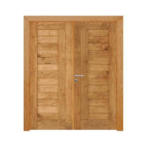 D2D ประตูไม้สนNz บานทึบทำร่องสีเชสนัท ขนาด 80x200cm.  SET 2 D2D-511