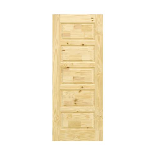 D2D ประตูไม้สนนิวซีแลนด์ บานทึบลูกฟัก(5ฟัก) ขนาด70 x 200 cm.   Eco Pine-022