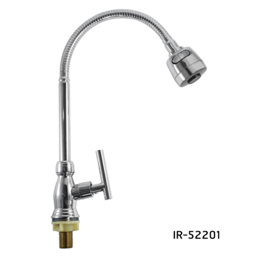 IRIS ก๊อกอ่างล้างจานเคาเตอร์ทองเหลืองงวงสแตนเลสด้ามปัด IR-52201 สีโครเมี่ยม